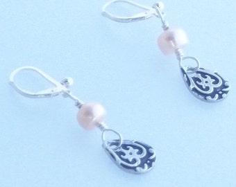 Silver Filigree Drop Earrings with Pink Pearls on Sterling Leverback Ear Wires