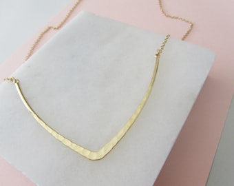 Large Gold V Necklace, Minimalist Necklace, Hammered Gold Necklace, Geometric Necklace, Gold Necklace - Gift for Her - Layering Necklace