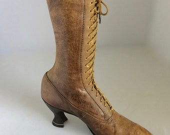 """Victorian lace up boot, Brown leather heel, 10"""" length, 11"""" high, photo prop, store display, vintage lace up shoe,"""