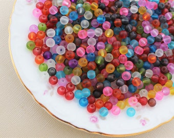 150/300 Pcs Glass 6mm Assorted Frosted Glass Beads