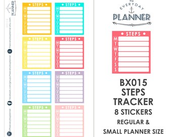 BX015 | Steps Notes Tracker Label | 8 Kiss-Cut Stickers | Fits SMC, EC, MAMBI and Small Planners
