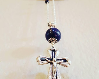 Crucifix and Lapis Lazuli Necklace