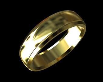 Gold Men's Wedding Band, Rounded Men's Wedding Band, Comfort Fit Men's Wedding Ring, Yellow Gold Simple Men's Wedding Band 6mm Wide