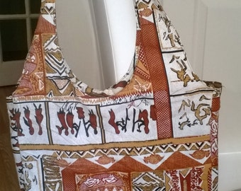 African tote with long strap