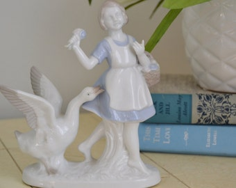 GIRL With GOOSE Blue and White Porcelain Vintage Figurine