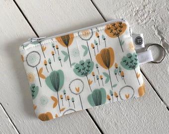 Change Purse | Tulips, Credit Card Holder,  Zipper Pouch, Cotton