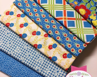 Chatterbox Aprons Penny Rose Riley Blake FQ Fat Quarter Bundle of 6 Cotton Quilt Fabric RETRO, FLORAL