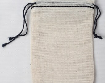 Cotton Muslin Bags 2.75x4 inch black hem and black double drawstring all natural 75 count