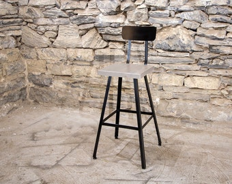 FREE SHIPPING - Brew Haus Industrial Style Scooped Back Bar Stools - London Fog Edition - Great for restaurants, bars and cafes!