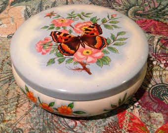 Vintage Butterfly Tin, Made In England, Floral Tin, Decorated by Daher