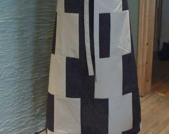 Long Patchwork Skirt, Handmade Skirt, Brown Black Skirt, Flowers, Recycled Fabrics,Drawstring Waist,Unique Clothing,Hippie Boho,Unique Skirt