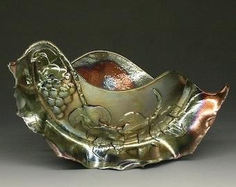 Raku Sculpture Vessel, Grapes, Grape Leaves, Copper, Green, Metallic and Iridescent Colors
