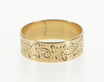 8k Ornate Stamped Butterfly Patterned Band Ring Gold