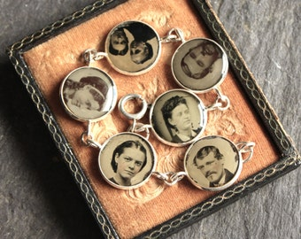Gem Tintype memento mori bracelet gothic steampunk goth antique, vintage, early photography, victorian, assemblage, jewelry