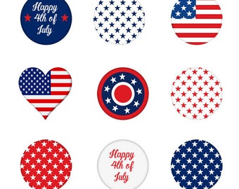 4th of July Buttons Set, Independence Day, Patriotic, America, Culture, Celebration, National, Memorial, Illustration,