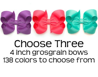 """Grosgrain Hair Bows, Set of 3 Hair Bows for Girls, 4 inch Boutique Bows, 3 Pack of Hair Bows for Toddler Girls Pick Colors 138 Colors 4"""" Bow"""