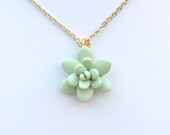 Light Pale Green Succulent Simple Drop Necklace. Plae Green Succulent Jewelry.