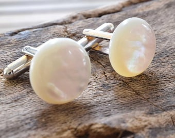 Mother of Pearl Cufflinks, Silver Plated, White Cufflinks, Mother of Pearl, Wedding Gift, Birthday Gift, Anniversary, Wedding Cufflinks