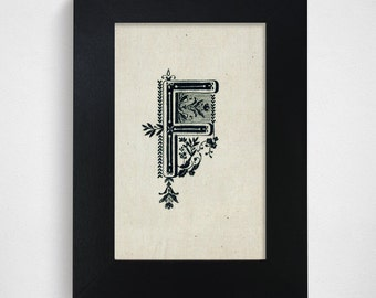 "SALE / Ready-to-Ship / Hand Drawn Original Monogram Letter F / 4x6"""