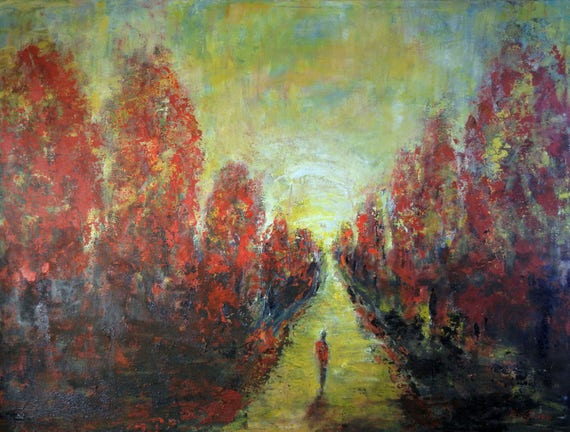 Landscape Oil Painting LARGE Original Artwork, ROAD Less TRAVELED 48x36  Art by BenWill