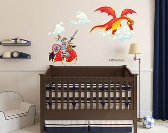Color wall sticker - Knight with a dragon (3408f)
