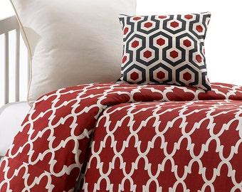 Red Trellis Bedding Set