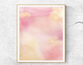 Pink Yellow Abstract Watercolor Print, Contemporary Art Print, Abstract Art, Modern Wall Art, Blush Print, Pastel Print, Watercolor Print