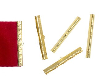 16 pieces  50mm  (2 inch) Gold Ribbon Clamp End Crimps - Artisan Series