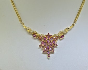 14k Diamond And Pink Sapphire Necklace 18 Inches