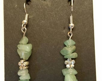 Genuine Green Aventurine Gemstone Earrings
