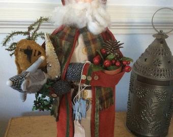 Vintage style Folk Art Santa with Beeskeep and gardening tools