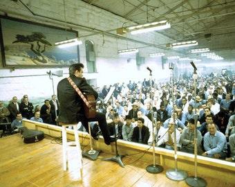 Johnny Cash performing at Folsom prison on Jan. 13, 1968