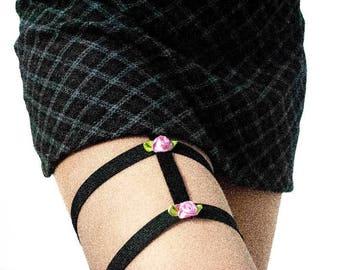 SAKURA-Double fine garter with flowers and tweezers