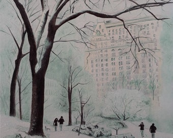 Central Park in the Snow print