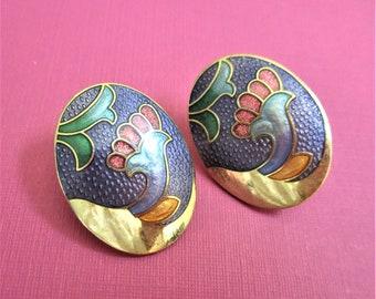 Lilac & Gold Cloisonne Earrings Oval Post Earrings Floral Earrings for Pierced Ears Artful Earrings Lilac Red Gold Jewelry Mother's Day Gift