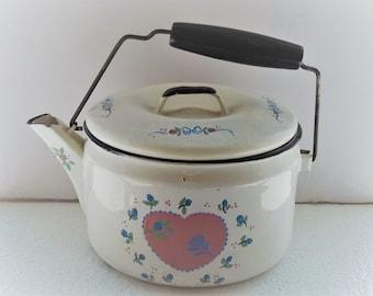 Vintage Handpainted  Tea Kettle  Planter  Gift for Mom