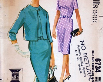 Bust 35-1963 Misses' Dress and Jacket  McCall's 6734  Size 14 1//2