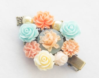 Floral Hair Clip, Flower Collage Hair Clip, Blue Hair Clip, Bridal Hair Clip, Peach Flower Clip, Bridal Party Flower Girl Bridesmaid Gift