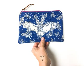 Bat + Moth - Blue Print - Handmade Printed Clutch