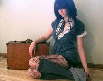 Whimsically indulgent - Heather gray tunic, antique applique, flutter sleeves - Medium