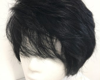 100% human hair wig /black / short /with a bit of body