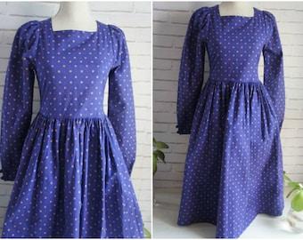 Trachen style dress. Laura Ashley brand small size indigo blue trachten style dress.