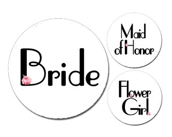 "1.25"" Art Deco Accent Bachelorette Party Buttons"