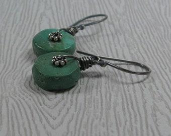 Turquoise Earrings Rustic Gemstone Wheels Oxidized Sterling Silver Drop Earrings