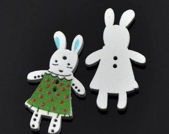 Set of 35 Bunny Rabbit in a green dress Buttons Crafts/Jewellery/Sewing/Cards