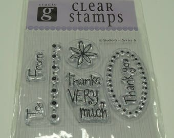 Thank You Unmounted Clear Stamp Set from Studio G Thanks Very Much, Thank You, Flower, Floral, To From, Dot Border