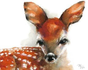Deer Fawn - Giclee Print of watercolor painting. Art Print. Nature or Animal Illustration. Rust and Orange.