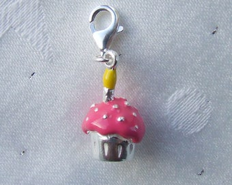 Birthday One Candle Cupcake Charm 925 Sterling Silver Heart Clip on Clasp