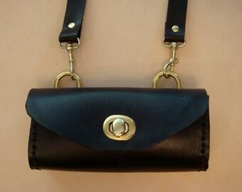 Tara Handmade Black Leather Crossbody Bag - Small Purse - Handbag