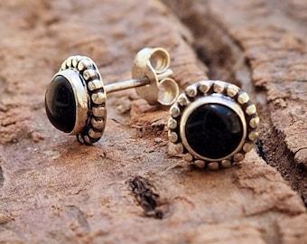 Sterling Silver Post Earrings // Silver Ear Stud // Sterling Silver Studs // Sterling Silver Posts // Gemstone Earring // Black Onyx Earring
